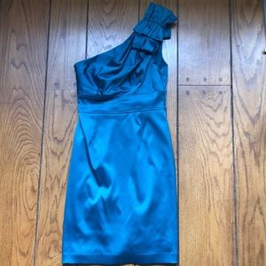 Teal satin dress with bow detail on shoulder